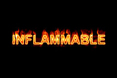 Inflammable (Text serie) Stock Photos