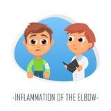 Inflammation av armbågeläkarundersökningbegreppet också vektor för coreldrawillustration Royaltyfri Foto