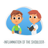 Inflammation av skuldraläkarundersökningbegreppet Vektor Illustratio Royaltyfri Foto