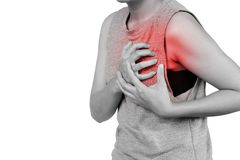 Inflammation colored in red suffering. woman clutching his chest from acute pain, Heart attack symptom. Healthcare and health insurance concept - isolated on stock images