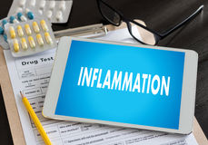 Inflammation Joint inflammation concept Medical Report , lymph. Glands , allergies. dermatology royalty free stock photo