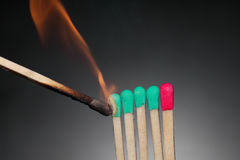 Inflammation ot patience. Inflammation of matches: from green to red. Just like patience Royalty Free Stock Photo