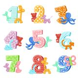 Inflatable animals with birthday numbers. Vector illustrations. Design template of invitation cards for kids party. Birthday and inflatable balloon in shape Stock Photos