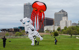 Inflatable Animals. Children playing with inflatable kites at a festival in Milwaukee, Wisconsin Royalty Free Stock Image