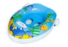 Inflatable Baby Boat Pool Toy. Isolated on White stock photography