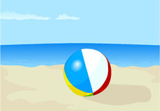 Inflatable ball. On a beach stock illustration