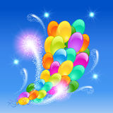 Inflatable balloons firework. Holiday background with inflatable balloons firework Stock Photos