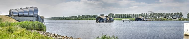 Inflatable barrage in the Netherlands. Inflatable barrage bellow dam Ramspolstuw near the city of Kampen, The Netherlands stock image