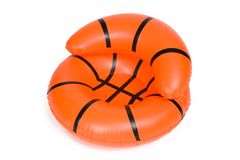 Inflatable Basketball Chair Pool Toy. Isolated on White stock photo