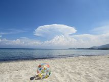 Inflatable Beach Ball on the beach. Thassos. Greece Stock Photography