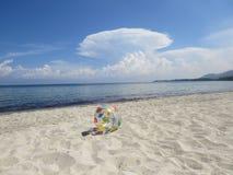 Inflatable Beach Ball on the beach. Thassos. Greece Stock Photos