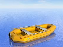 Inflatable boat - 3D render Royalty Free Stock Photo