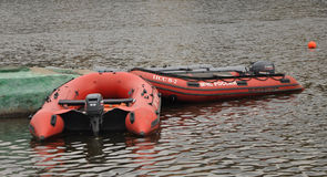 Inflatable boat MES in the Park Tsaritsyno. Royalty Free Stock Photos