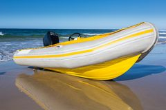 Inflatable Boat with Motor Stock Images
