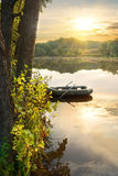 Inflatable boat on river Royalty Free Stock Photo