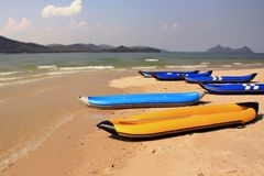 Inflatable boats on a beach Royalty Free Stock Photos