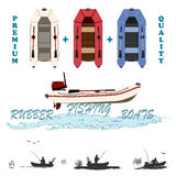 inflatable boats for fishing, hunting and recreation Royalty Free Stock Image