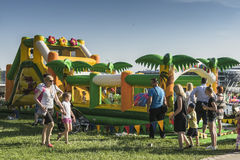 Inflatable building. Picnic and fun for children on the occasion of the Dragon Parade in Krakow, Poland Royalty Free Stock Image