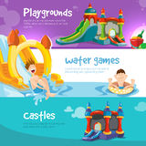 Inflatable castles and childrens hills on playground Royalty Free Stock Images