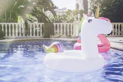Inflatable colorful white unicorn and pink flamingo at the swim pool. Summer time in the swimming pool with plastic toys Royalty Free Stock Images