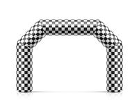 Inflatable finish line arch illustration. Inflatable archway template with checkered flag. Suitable for different outdoor sport events like marathon racing Stock Photo