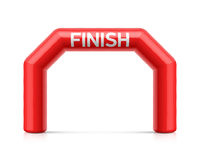 Inflatable finish line arch illustration. Red inflatable archway, suitable for different outdoor sport events like marathon racing, triathlon, skiing and other Stock Images