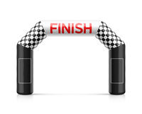 Inflatable finish line arch. Illustration. Inflatable archway template with checkered flag and places for sponsors advertising. Suitable for different outdoor Stock Photography