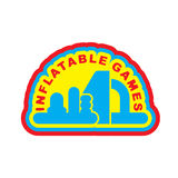 Inflatable Games logo. Emblem for water park amusement Royalty Free Stock Photos