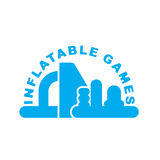 Inflatable Games logo. Emblem for water park amusement Royalty Free Stock Photo