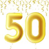 Inflatable golden balls with falling confetti and hanging ribbons. Fifty years, symbol 50. Vector illustration, logo or. Poster for fiftieth birthday Stock Photo