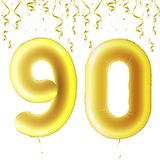 Inflatable golden balls with falling confetti and hanging ribbons. Ninety years, symbol 90. Vector illustration, logo or. Poster for ninetieth birthday Stock Photo
