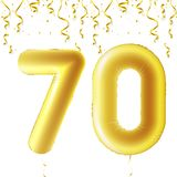 Inflatable golden balls with falling confetti and hanging ribbons. Seventy years, symbol 70. Vector illustration, logo. Or poster for seventieth birthday Stock Image