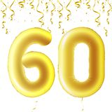 Inflatable golden balls with falling confetti and hanging ribbons. Sixty years, symbol 60. Vector illustration, logo or. Poster for sixtieth birthday royalty free illustration