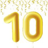 Inflatable golden balls with falling confetti and hanging ribbons. Ten years, symbol 10. Vector illustration, logo or. Poster for tenth birthday celebrating Royalty Free Stock Image