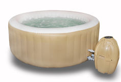Inflatable Hot Tub, Jacuzzi. An inflatable hot tub, jacuzzi with motor, or a white background royalty free stock images