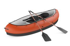 Inflatable kayak canoe isolated. At the white background Stock Photo