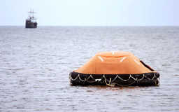 Inflatable lifeboat at sea Stock Image
