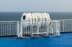 Inflatable liferaft on ferry. A RFD Inflatable liferaft on ferry Stock Image