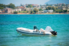 Inflatable motor boat on sea. Royalty Free Stock Images