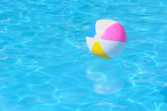 Inflatable multy colored plastic ball in swimming pool. An inflatable multy colored plastic ball in a shiny blue swimming pool Royalty Free Stock Photos