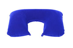 Inflatable Neck Pillow. Blue Inflatable Neck Pillow on White Background Royalty Free Stock Photography