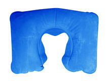 Inflatable Neck Pillow - Blue. Blue Inflatable Neck Pillow isolated on white background. Clipping Path included Royalty Free Stock Photo