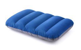 Inflatable pillow. Blue  inflatable pillow isolated on white Stock Photos