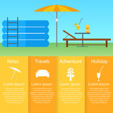 Inflatable pool, sun lounger under an umbrella. Royalty Free Stock Photography