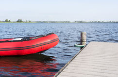 Inflatable red boat Stock Photography