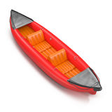 Inflatable red kayak isolated on white 3D Illustration Stock Image