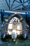 Inflatable rescue boat on dock Royalty Free Stock Image