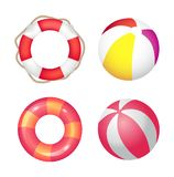 Inflatable Ring and Beach Ball Set Vector Banner vector illustration
