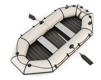 Inflatable rubber boat with oars on white background. Royalty Free Stock Images