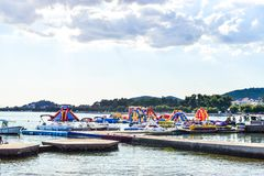 The inflatable slides. Of the sea, Vodice, Croatia royalty free stock images